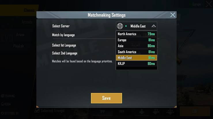 Ganti server PUBG Mobile