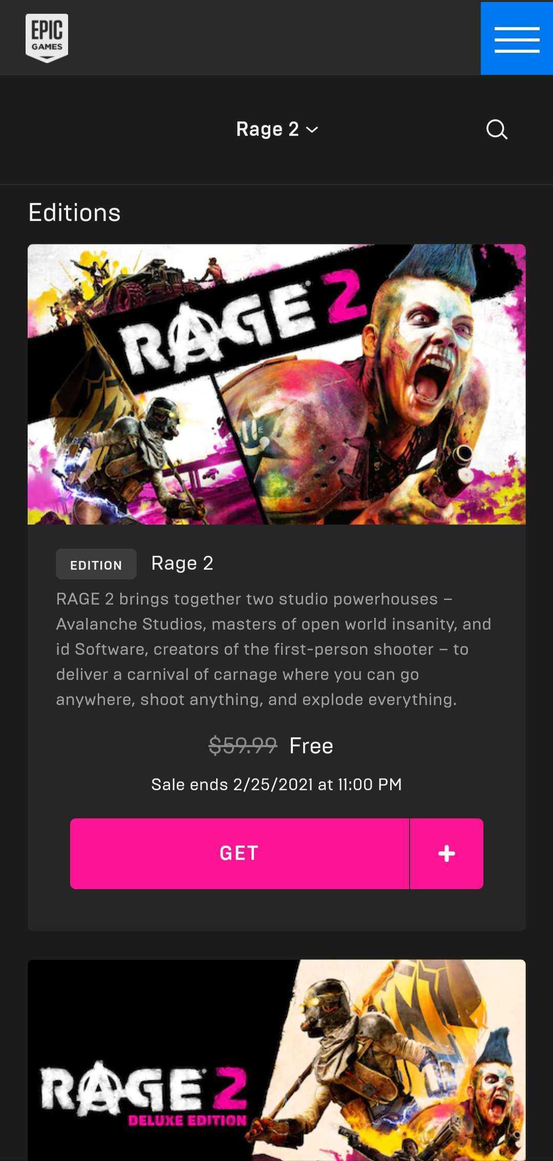 Rage 2 gratis di epic games store