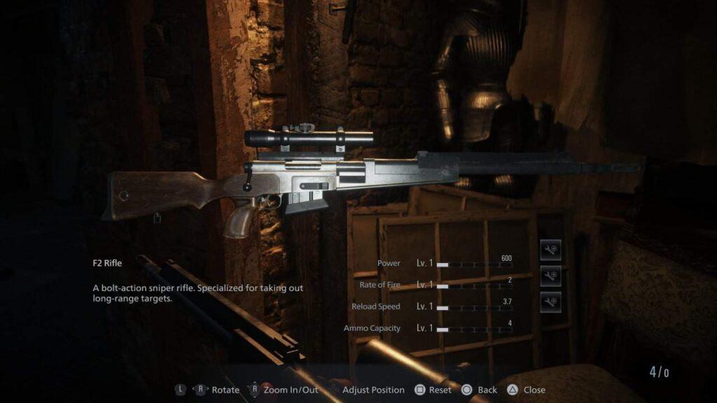 senjata f2 sniper rifle resident evil village