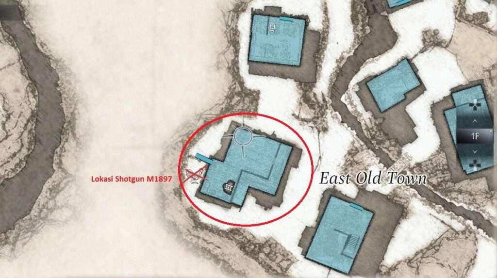lokasi shotgun m1987 resident evil village