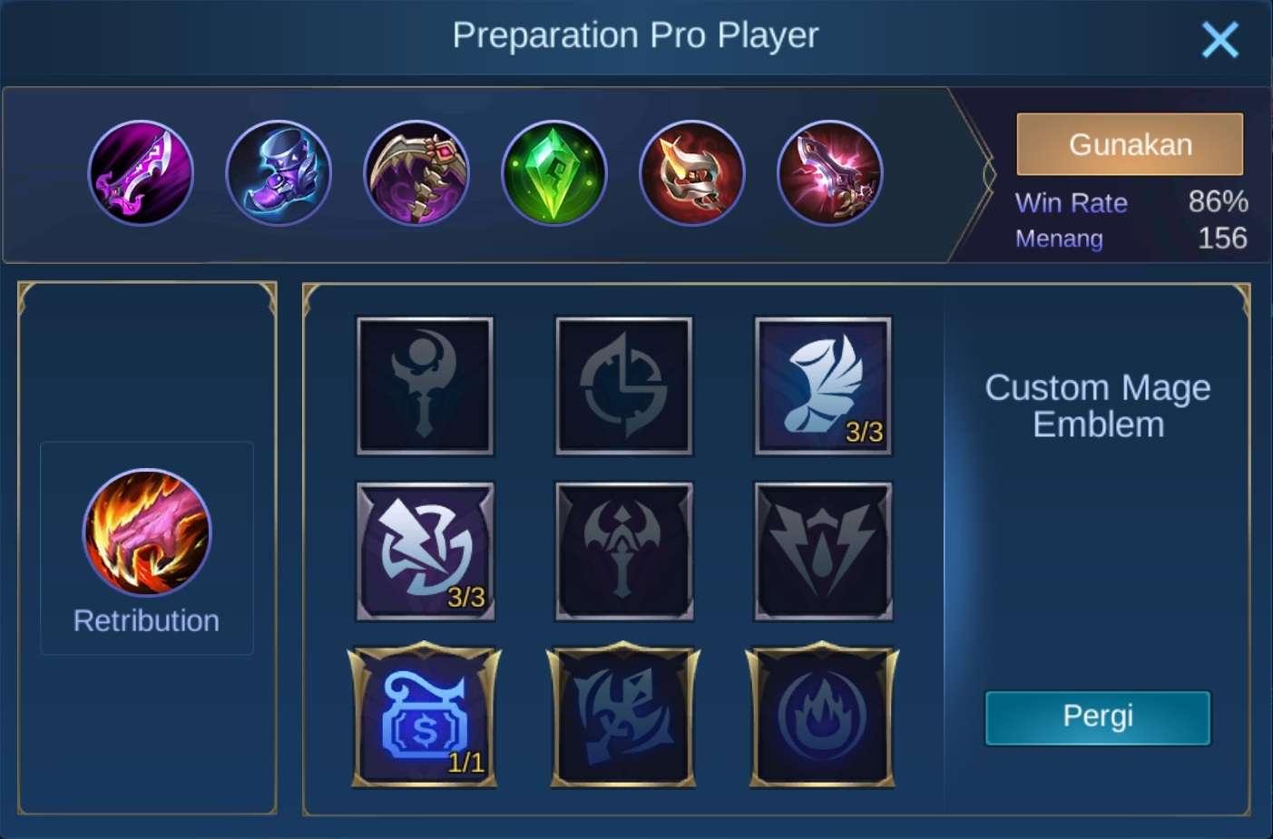 build items harley mobile legends (ML)